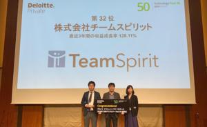 「2019年 日本テクノロジー Fast 50」受賞企業のうち、約4割が「TeamSpirit」を利用中!