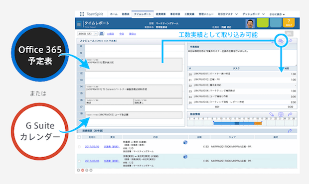 チームスピリット、働き方改革プラットフォーム「TeamSpirit」に、スケジュール表示の新機能を追加し、工数登録を更に簡単に